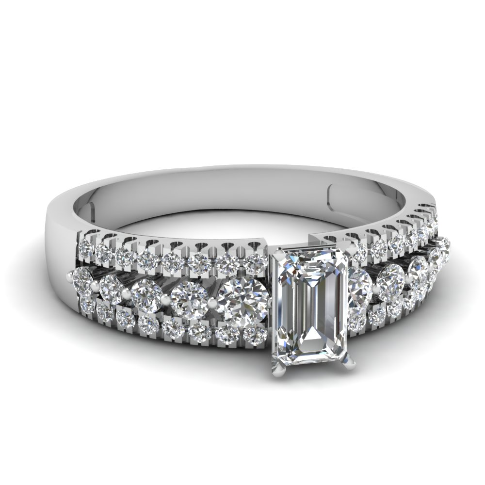 triple row emerald cut diamond engagement ring in FDENS3014EMR NL WG