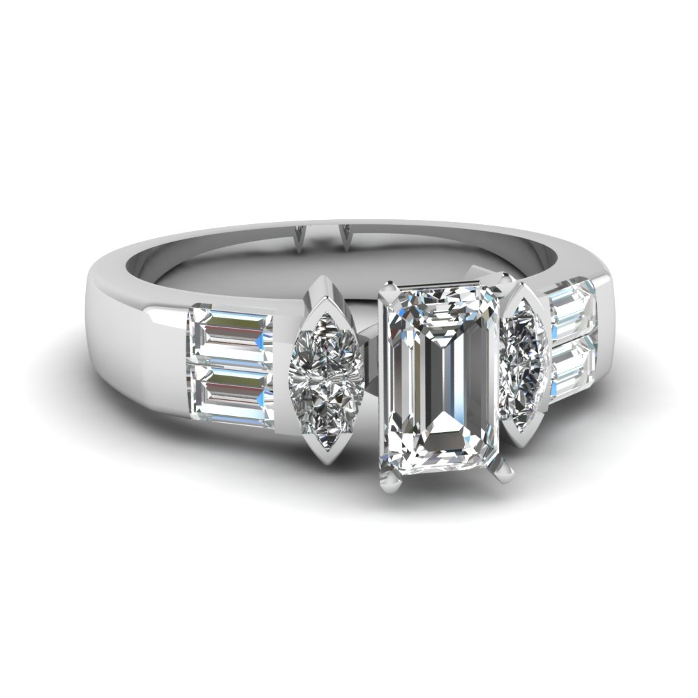 art deco accent emerald cut diamond engagement ring in FDENR1188EMR NL WG