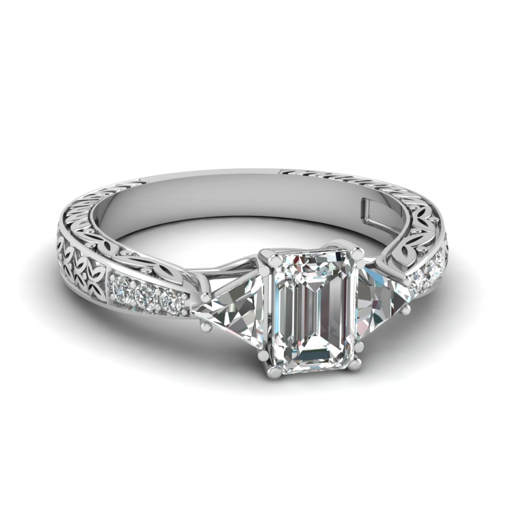 Antique Trillion And Emerald Cut Diamond Ring In 14K White Gold