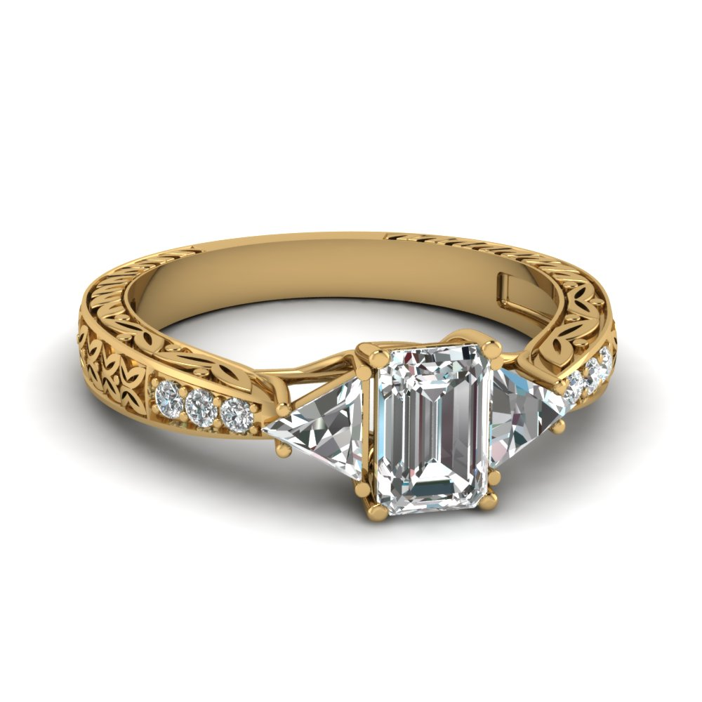 Emerald Cut diamond Vintage Engagement Rings with White Diamond in 14K Yellow  Gold