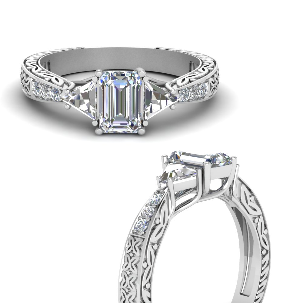 antique-trillion-and-emerald-cut-moissanite-engagement-ring-in-FDENR2887EMRANGLE3-NL-WG