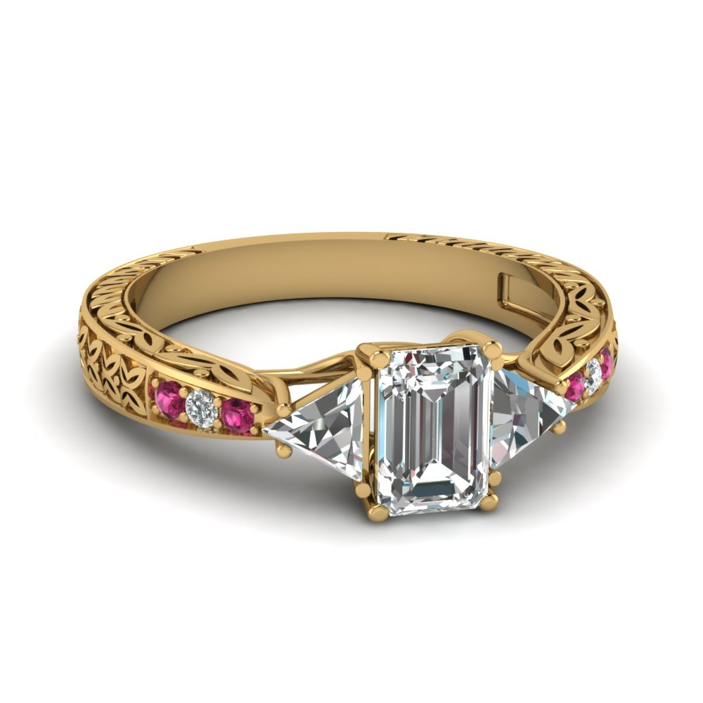 antique trillion and emerald cut ring in 14k white