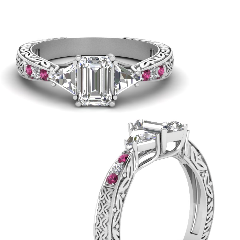 antique-trillion-and-emerald-cut-diamond-engagement-ring-with-pink-sapphire-in-FDENR2887EMRGSADRPIANGLE3-NL-WG