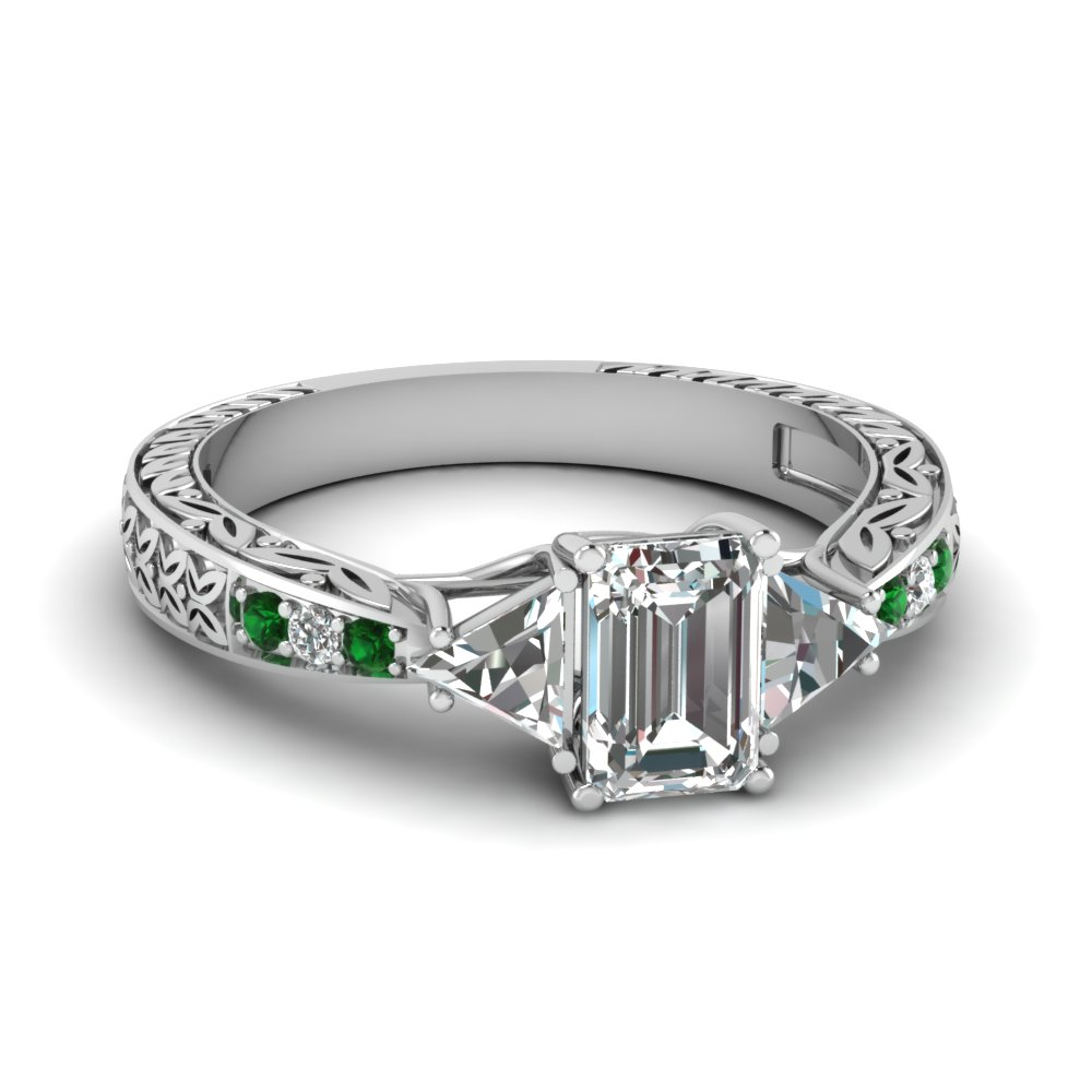 antique trillion and emerald cut diamond engagement ring with emerald in FDENR2887EMRGEMGR NL WG