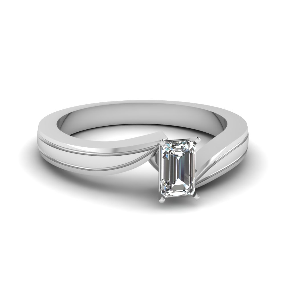 emerald cut diamond twisted solitaire engagement ring in FDENR6677EMR NL WG
