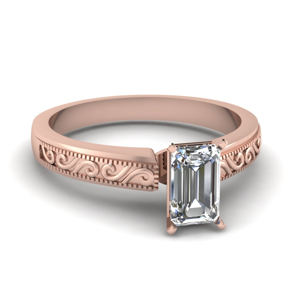 emerald cut wave design solitaire engagement ring in 14K rose gold FDENR2133EMR NL RG
