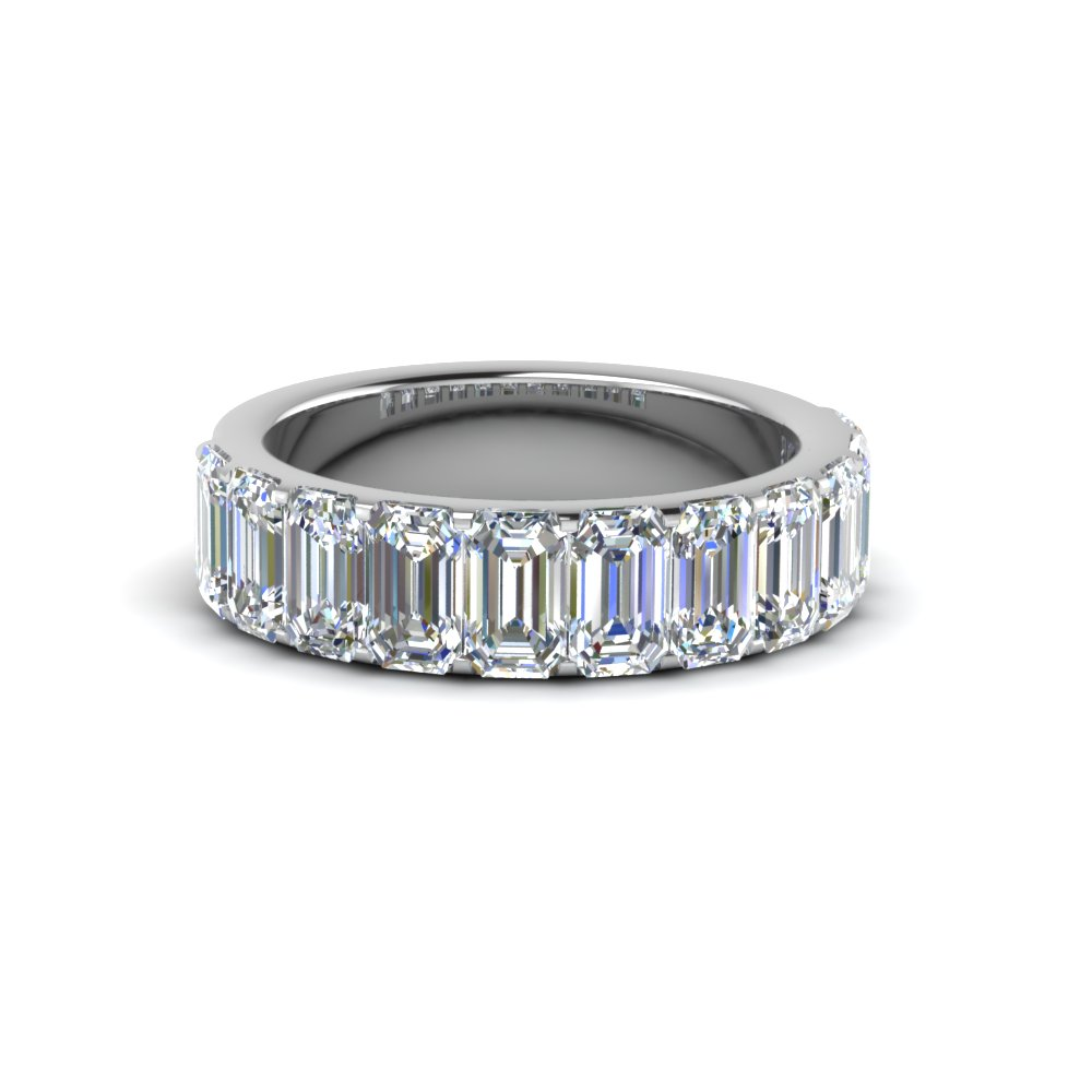 emerald cut diamond wedding band for women in FDWB8128B NL WG