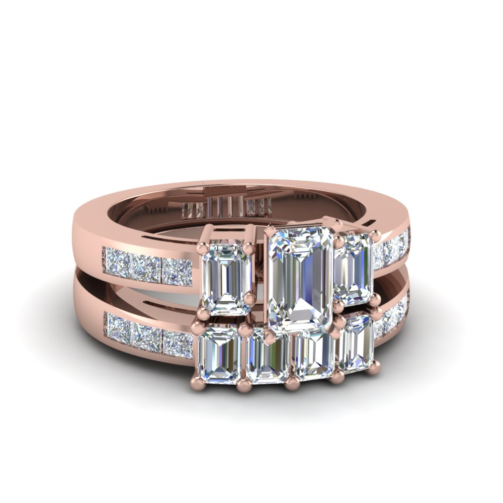 Emerald Cut Bridal Ring Set