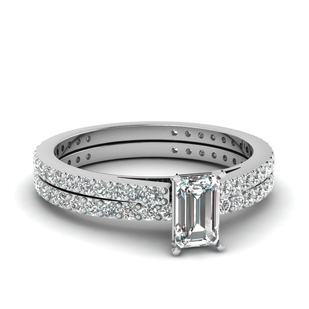 classic delicate emerald cut diamond wedding set in FDENS1425EM NL WG