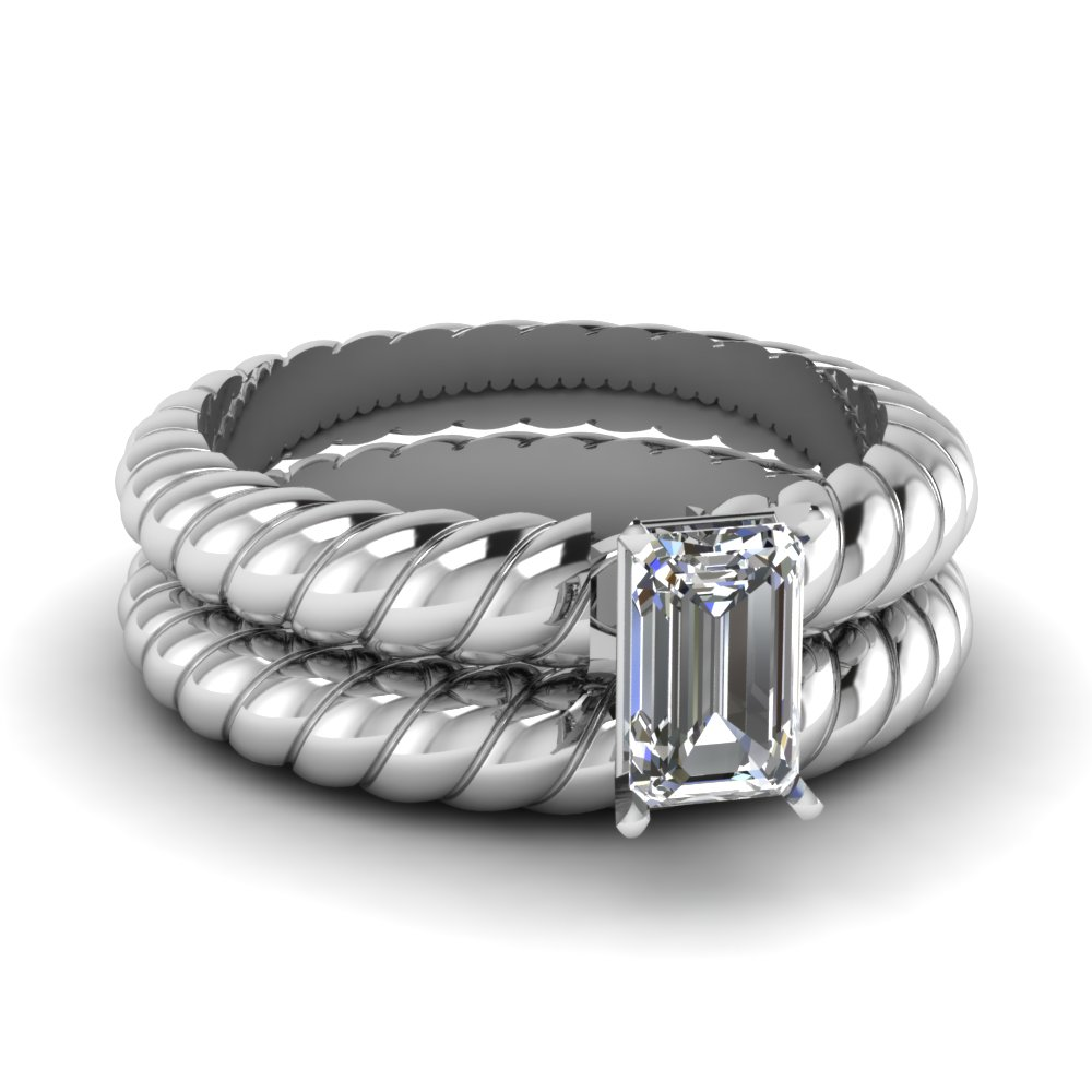 emerald cut rope solitaire wedding ring set in FDENS1793EM NL WG