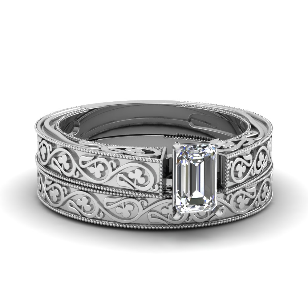 Engraved Milgrain White Gold Wedding Ring Set