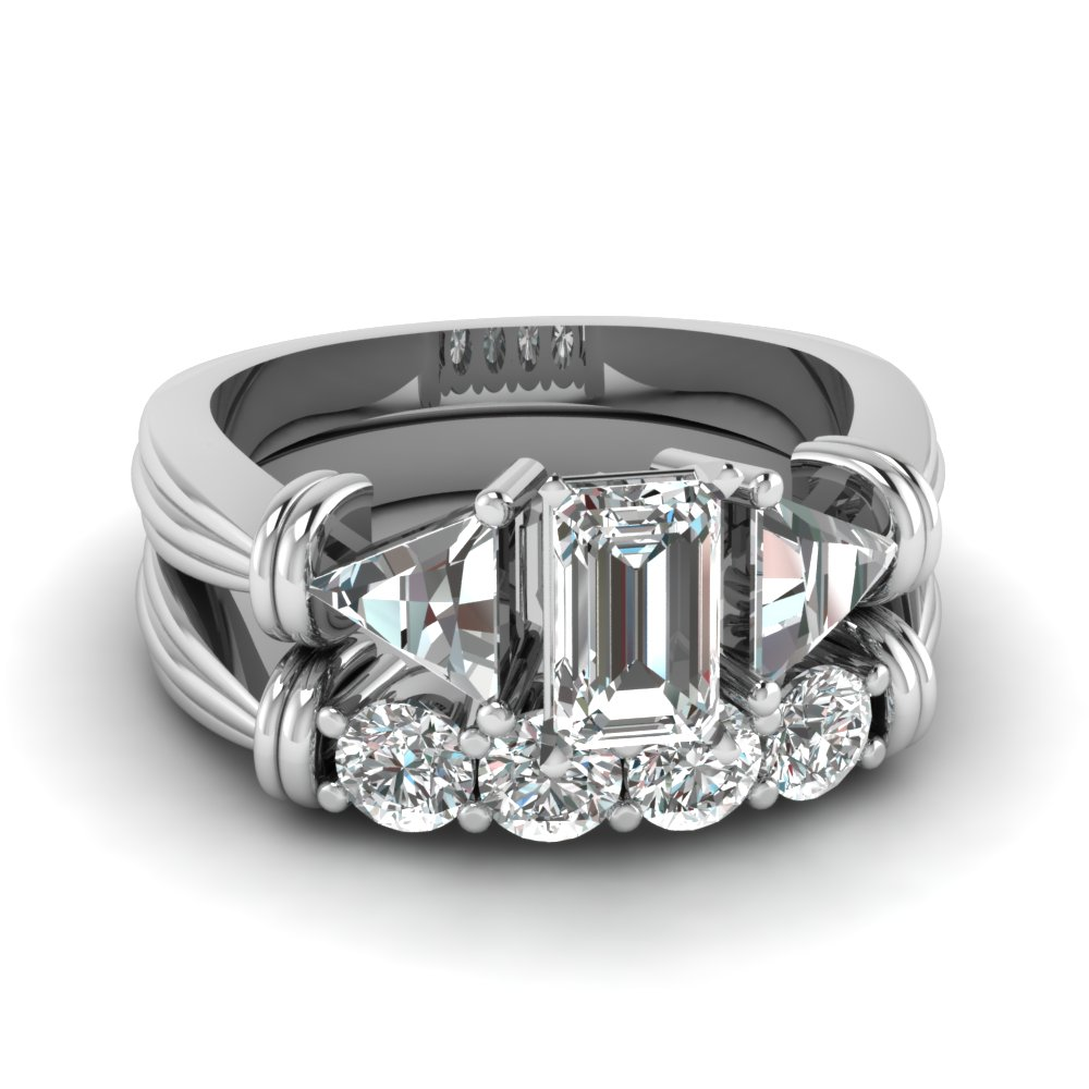 trillion 3 stone emerald cut diamond wedding set in FDENS623EM NL WG