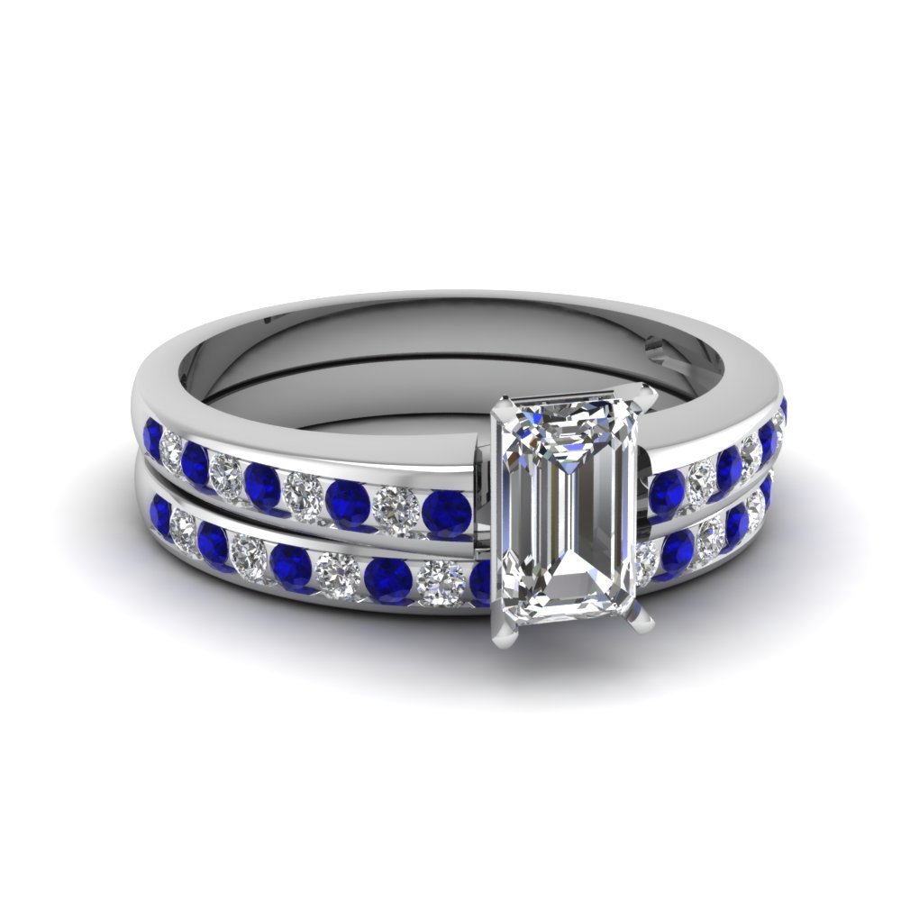emerald cut channel diamond with sapphire wedding set in FDENS3018EMGSABL NL WG