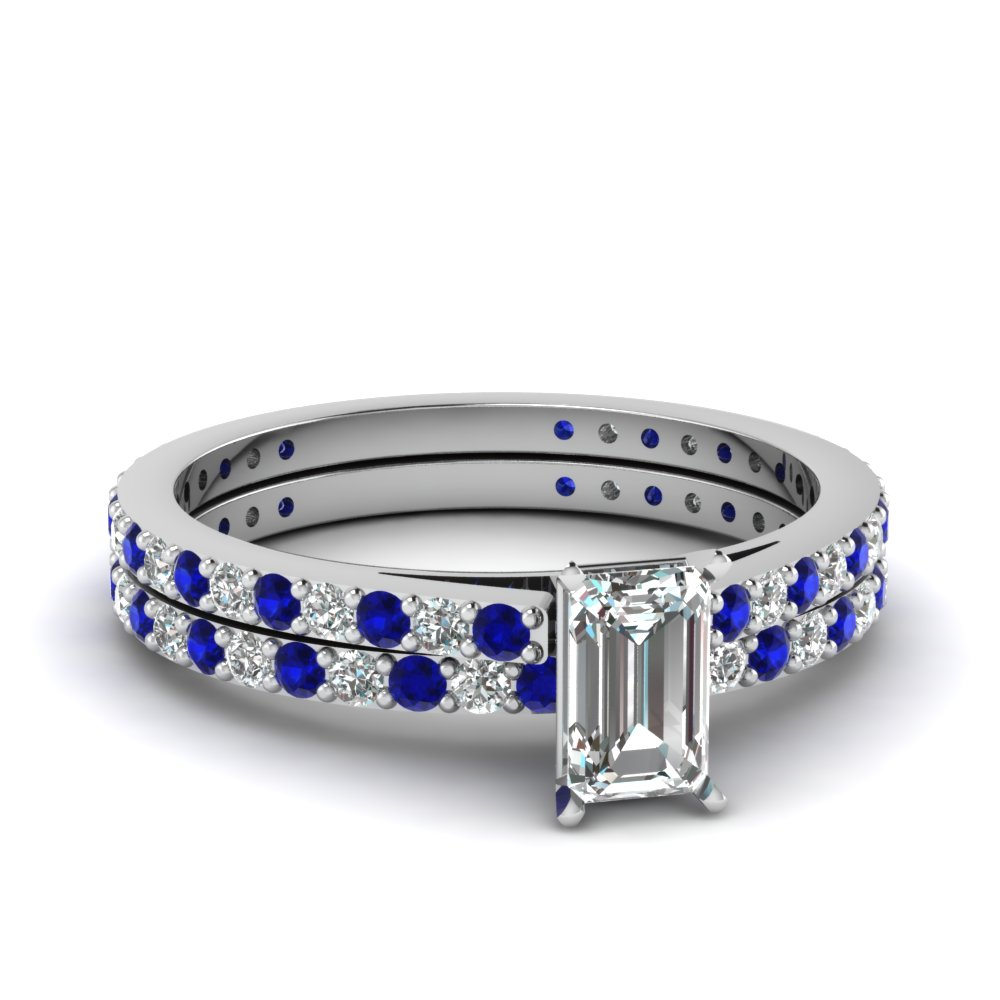 classic delicate emerald cut diamond wedding set with sapphire in FDENS1425EMGSABL NL WG