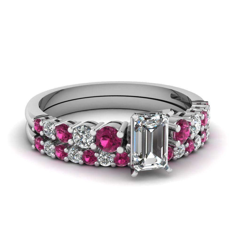 graduated emerald cut diamond wedding ring set with pink sapphire in FDENS3056EMGSADRPI NL WG