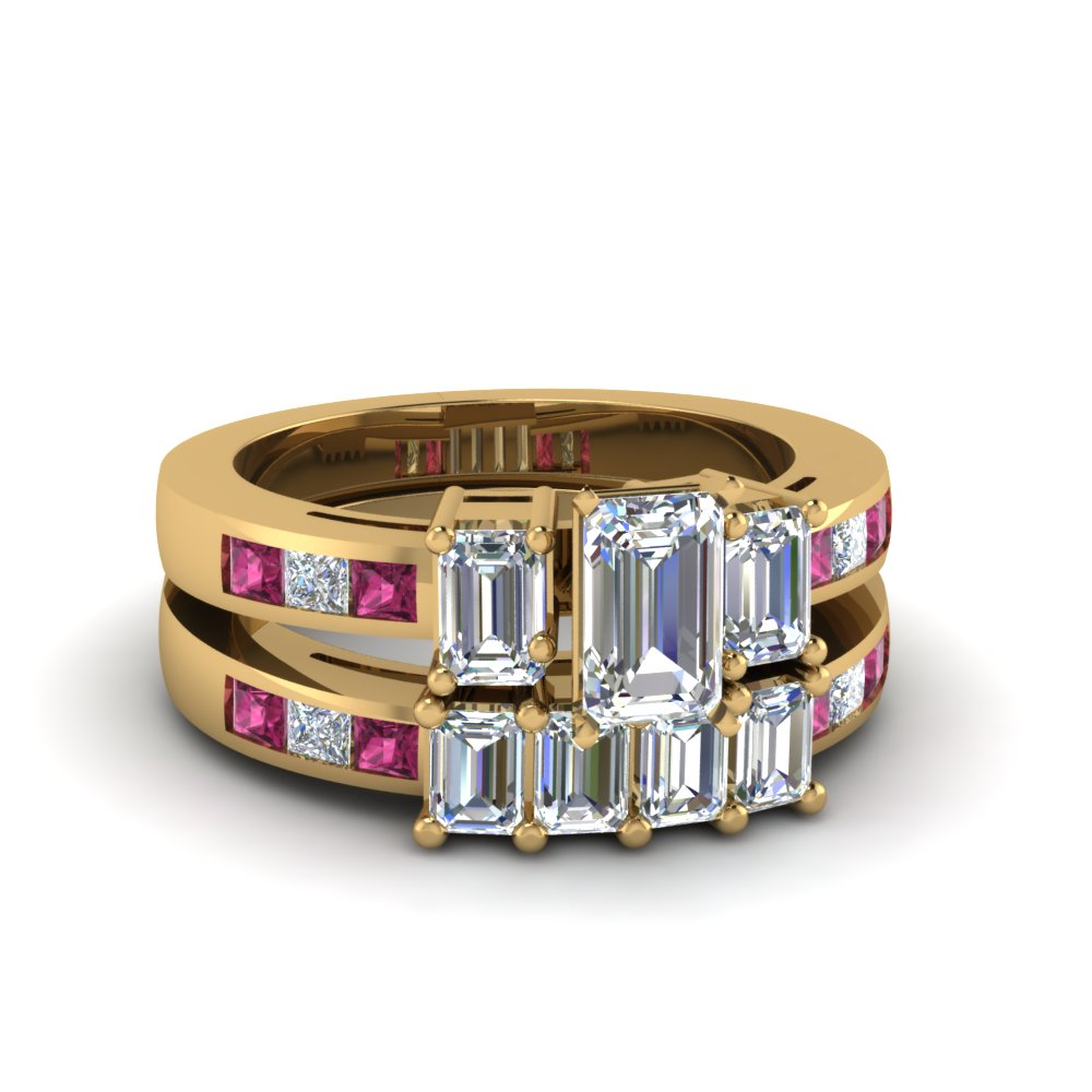 4 Emerald Cut Accents Stone Wedding Band For Women With Black Diamond In 14K