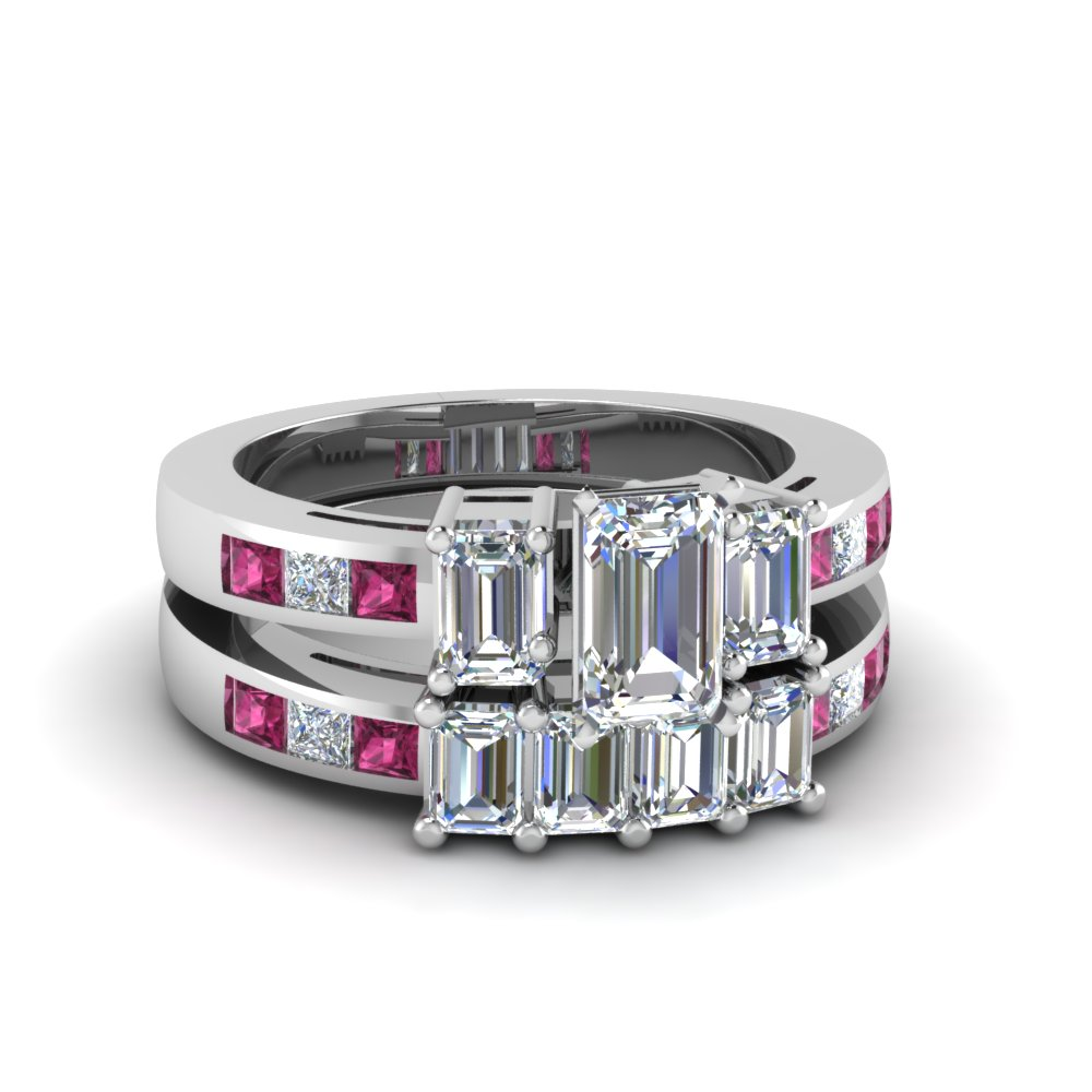 Channel Set 3 Stone Emerald Cut Diamond Wedding Ring Sets With Pink