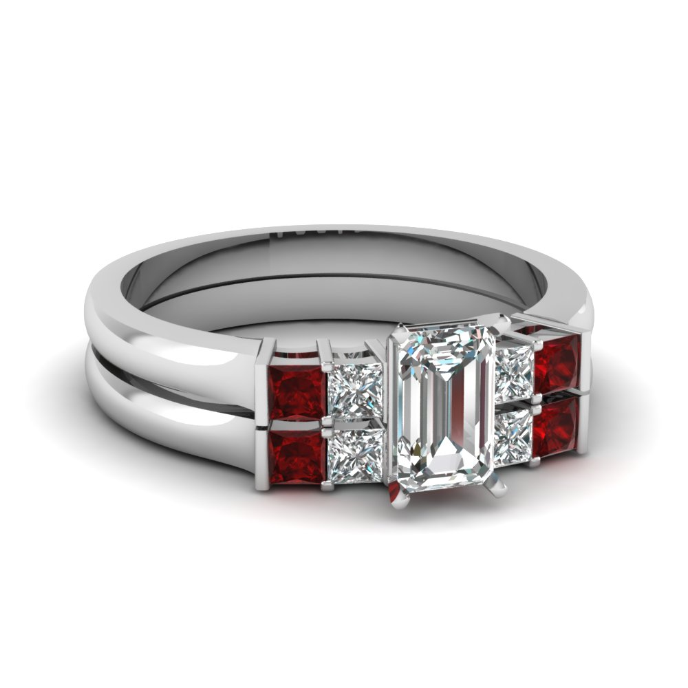 emerald cut basket prong diamond wedding ring set with ruby in FDENS1172EMGRUDR NL WG
