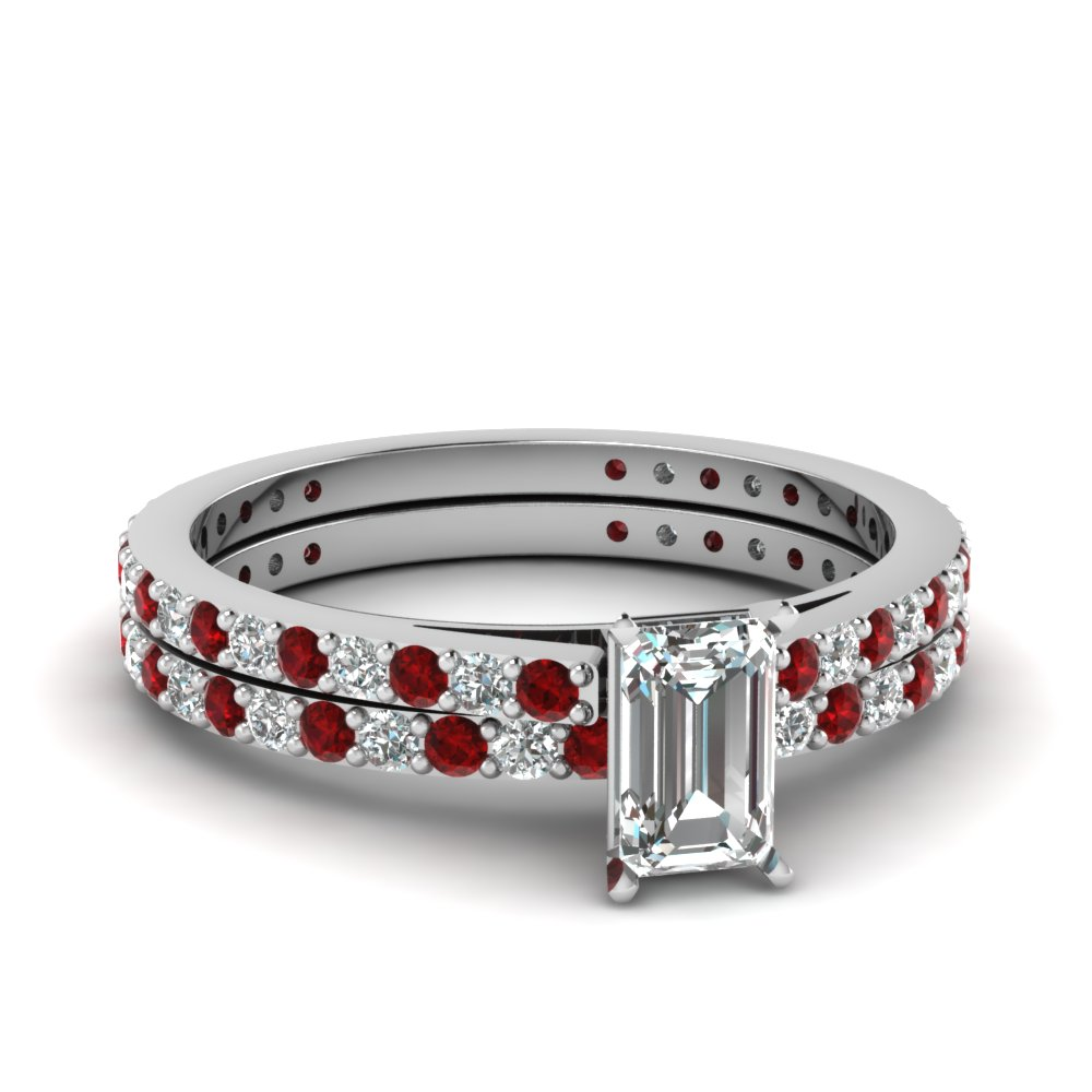 classic delicate emerald cut diamond wedding ring set with ruby in FDENS1425EMGRUDR NL WG