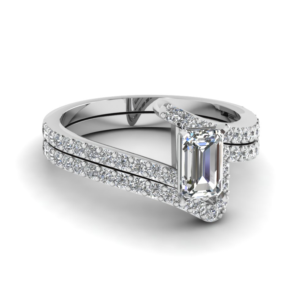 emerald cut diamond wedding ring sets in 14k white gold fdens3007em nl wg - Emerald Cut Wedding Ring