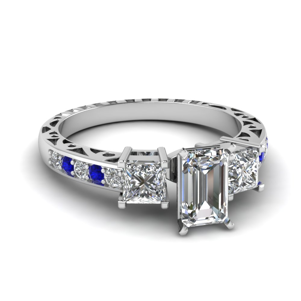 emerald cut vintage 3 stone diamond engagement ring with sapphire in FDENR1816EMRGSABL NL WG.jpg