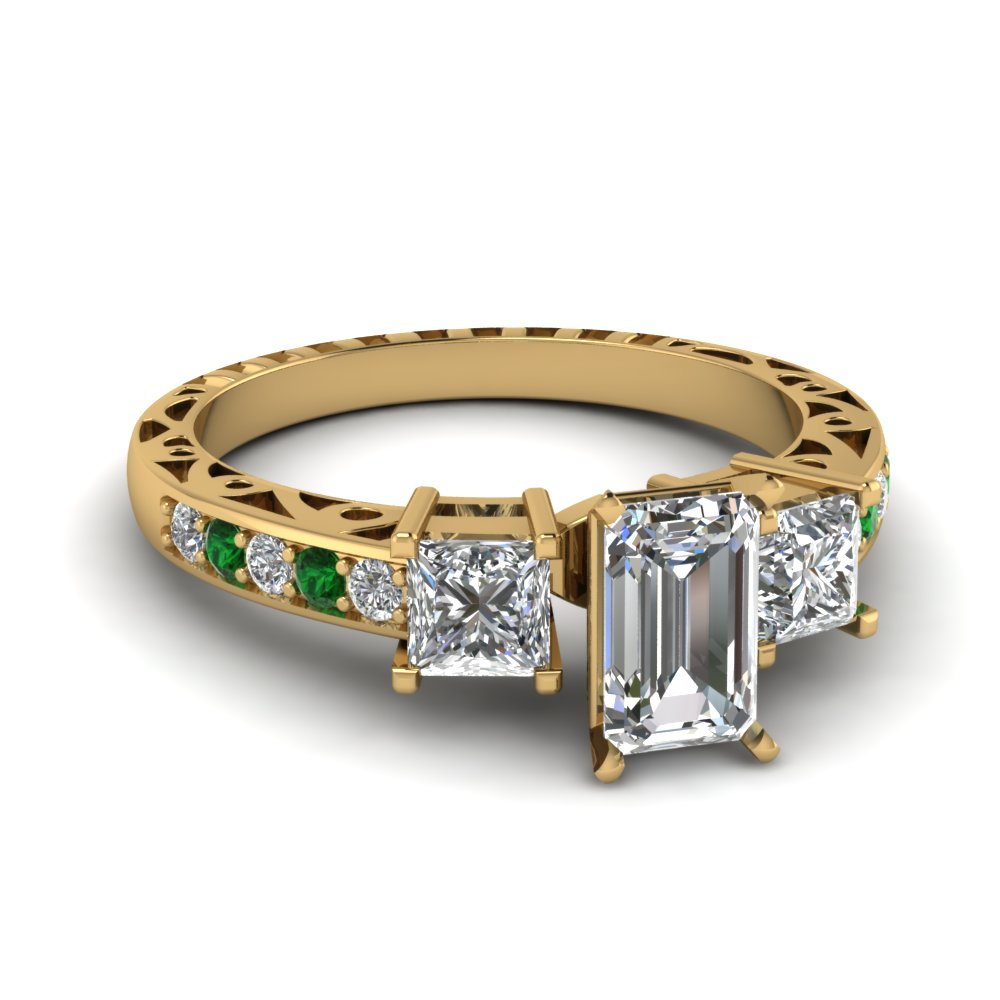 emerald cut vintage 3 stone diamond engagement ring with emerald in FDENR1816EMRGEMGR NL YG.jpg