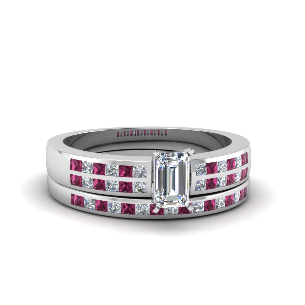 emerald cut double row channel diamond wide bridal set with pink sapphire in FDENS3122EMGSADRPI NL WG.jpg