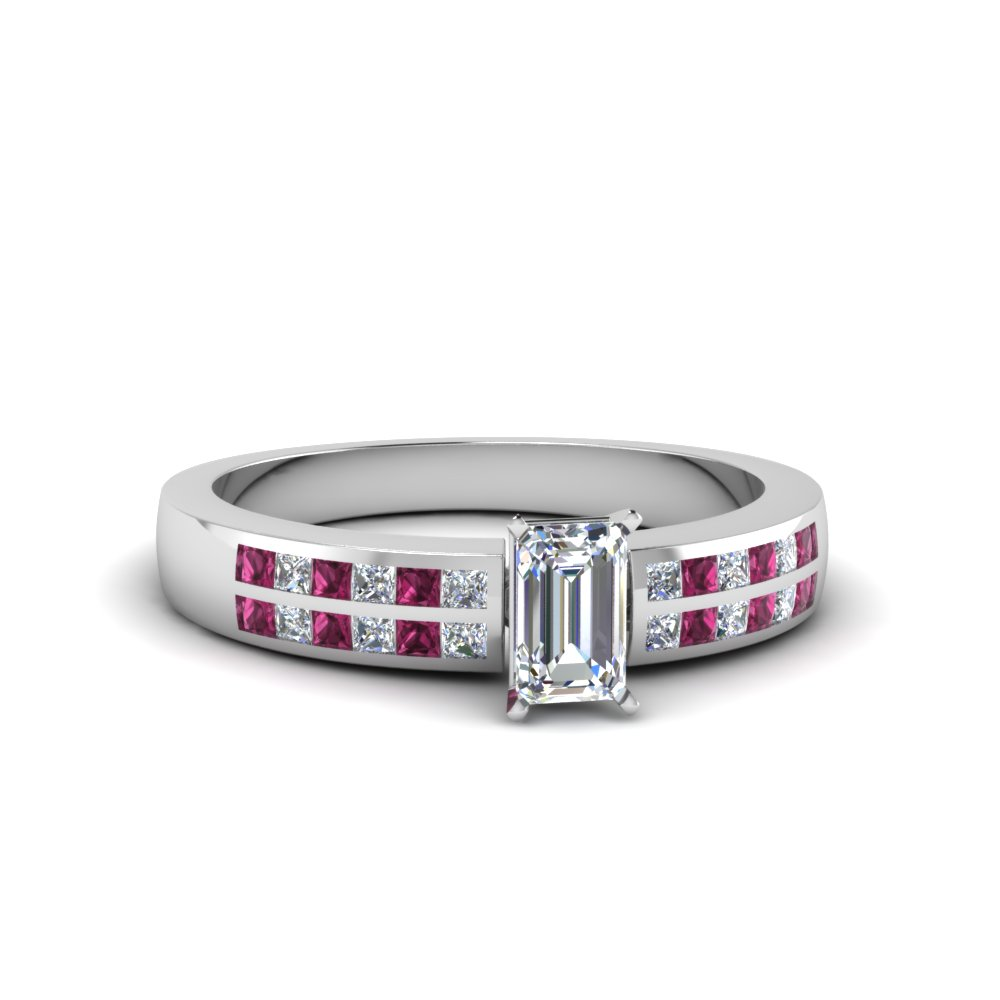 emerald cut double row channel diamond wide ring with pink sapphire in 14K white gold FDENS3122EMRGSADRPI NL WG