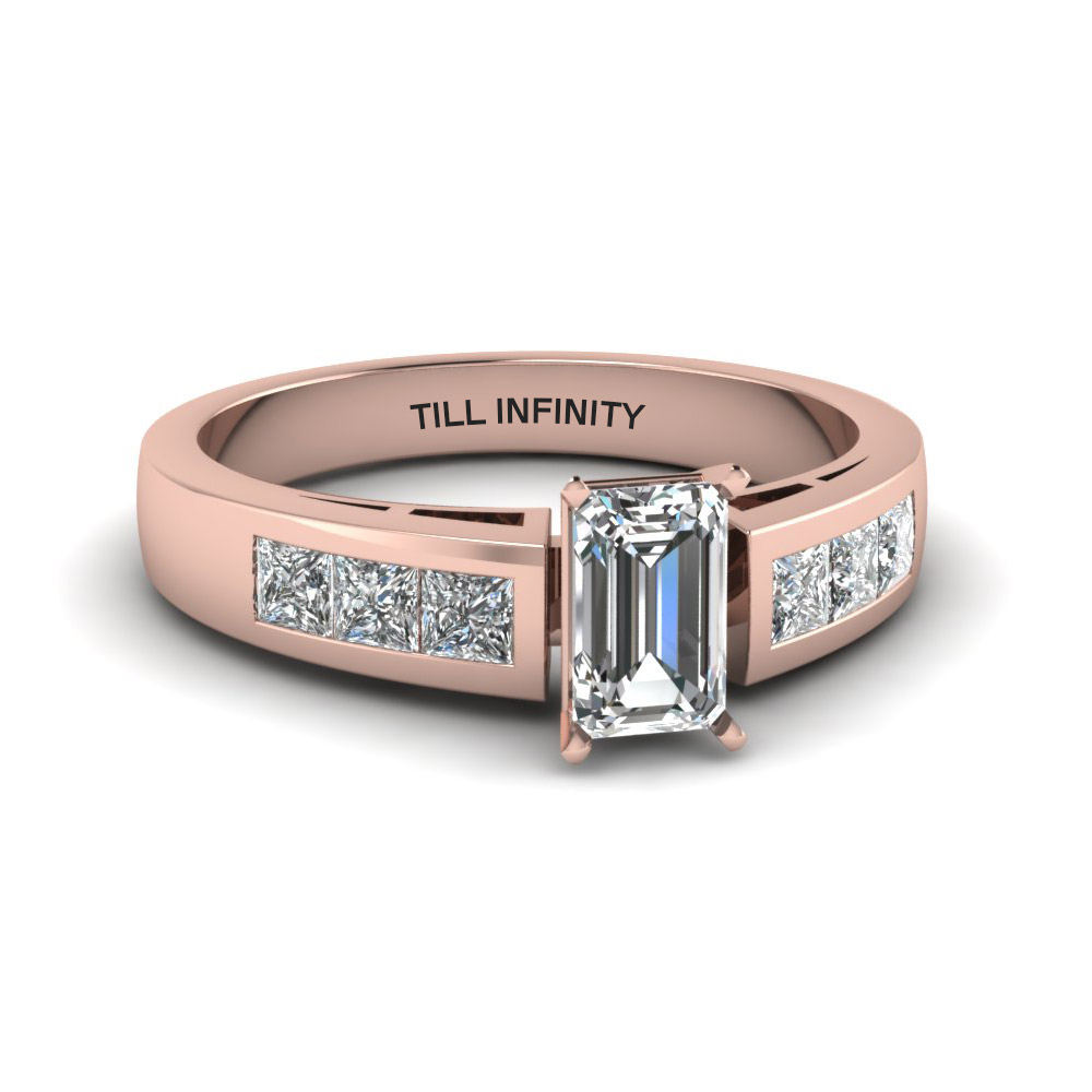 emerald cut engraved channel princess accent diamond engagement ring in 14K rose gold FDENS167EMR NL RG EG