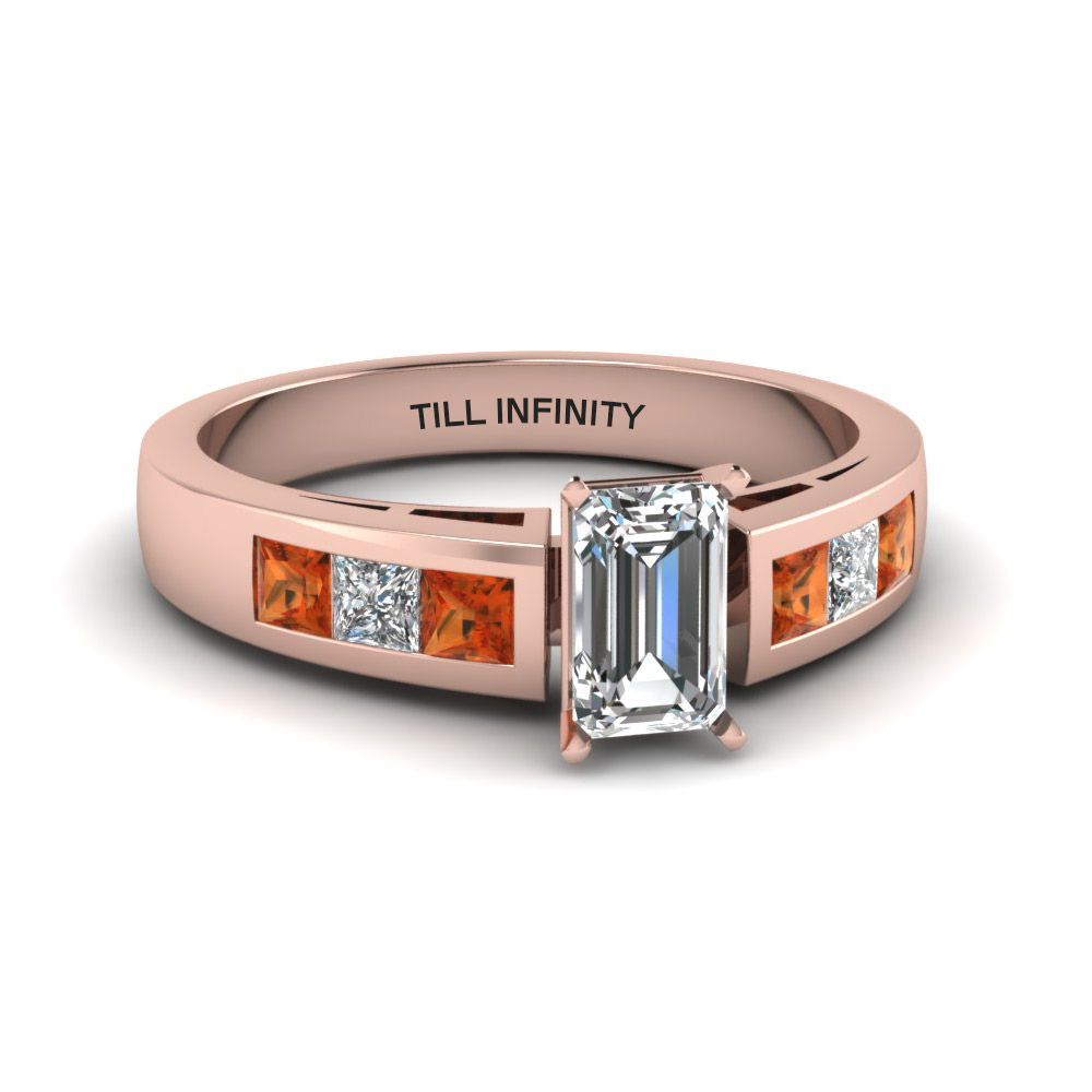 Engraved Diamond Emerald Cut Ring