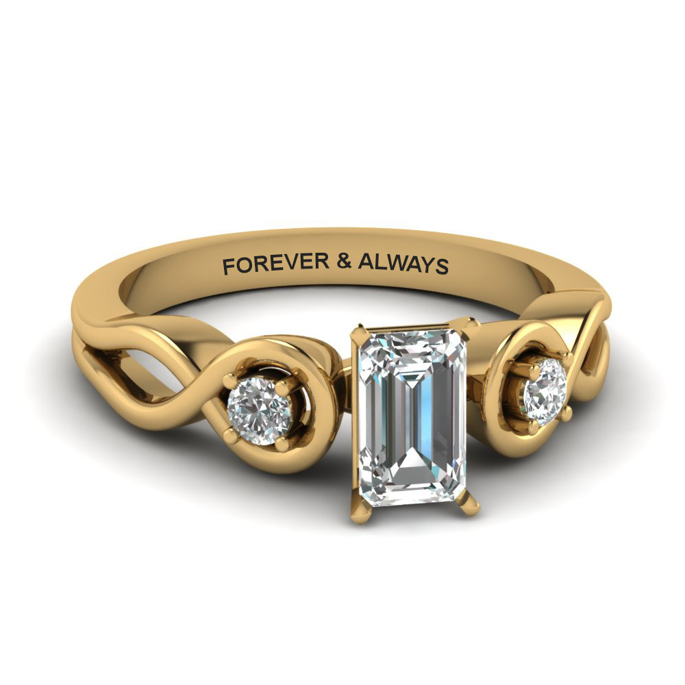emerald cut engraved three stone diamond engagement ring in 14K yellow gold FD1154EMR NL YG