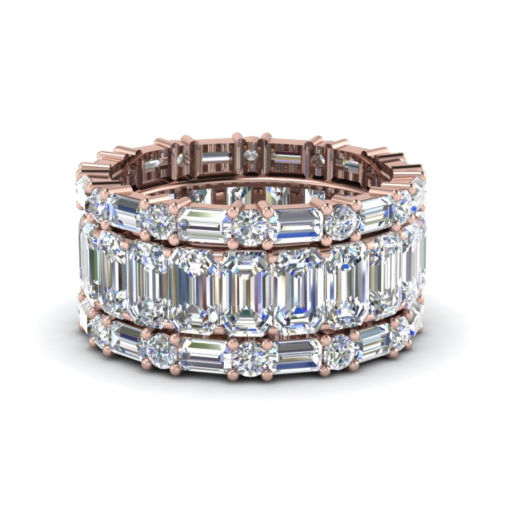 Emerald And Baguette Diamond Band