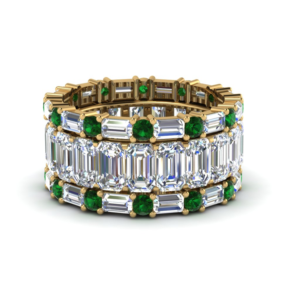 Emerald Stack Band With Baguette