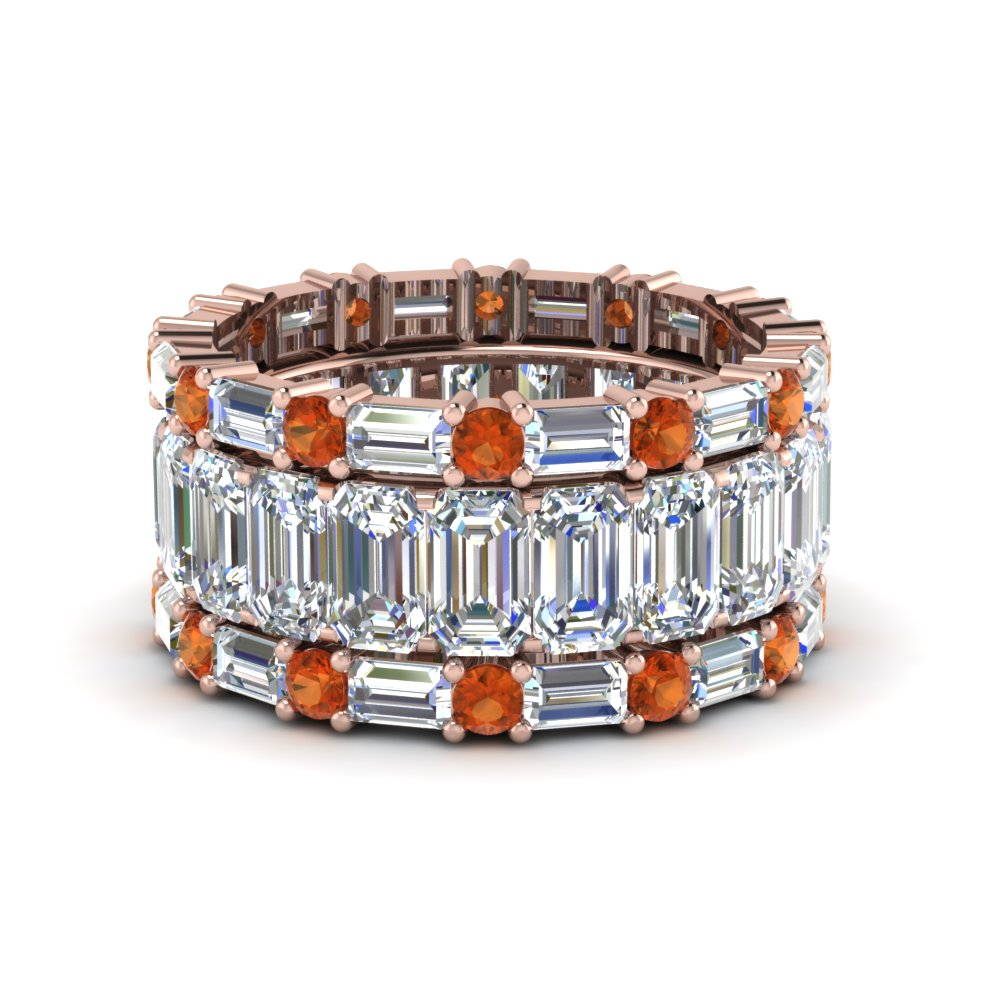 emerald cut eternity band with matching baguette and round orange sapphire in FD8331BGSAOR NL RG