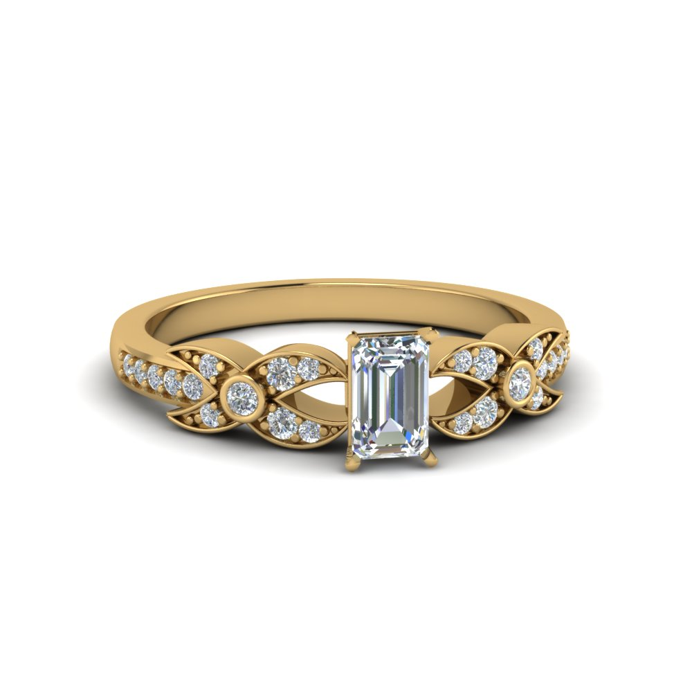 emerald cut flower pave diamond ring in 18K yellow gold FDENS3322EMR NL YG