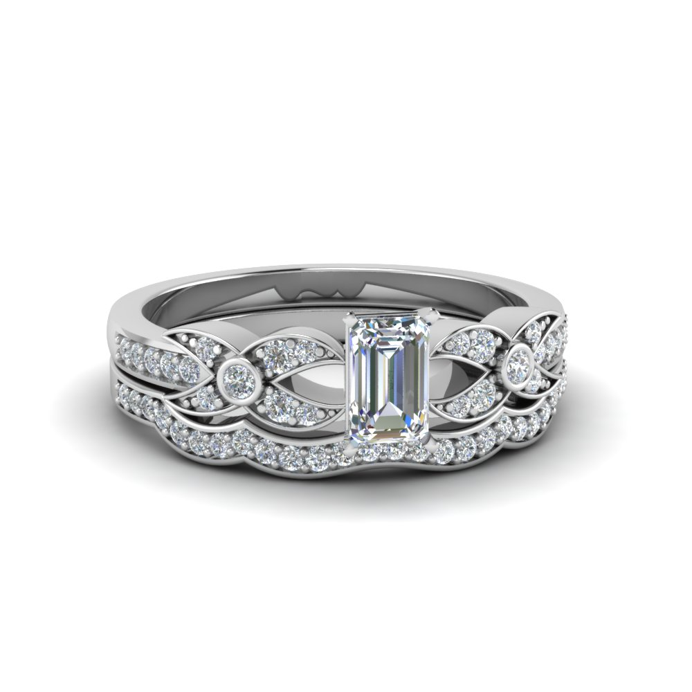 emerald cut flower pave diamond wedding ring set in FDENS3322EM NL WG
