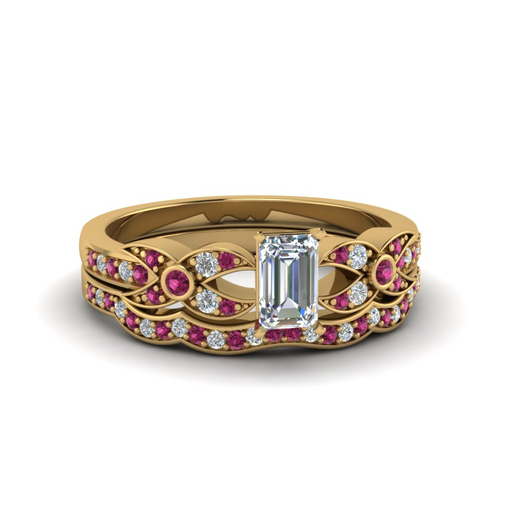 Pink Sapphire Flower Pave Ring Set