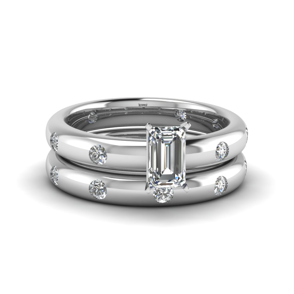 Well known Flush Set Emerald Cut Diamond Wedding Ring Set In 14K White Gold  PS49