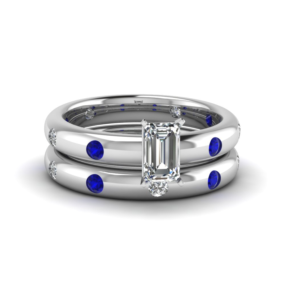 Flush Set Emerald Cut Diamond Sapphire Wedding Set With Sapphire In