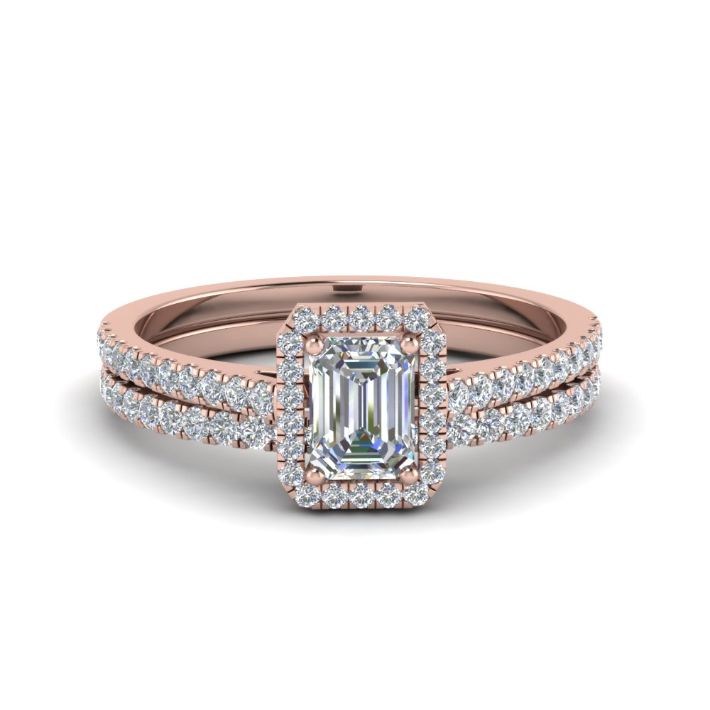 Emerald Cut French Pave Halo Diamond Bridal Set In 14K Rose Gold