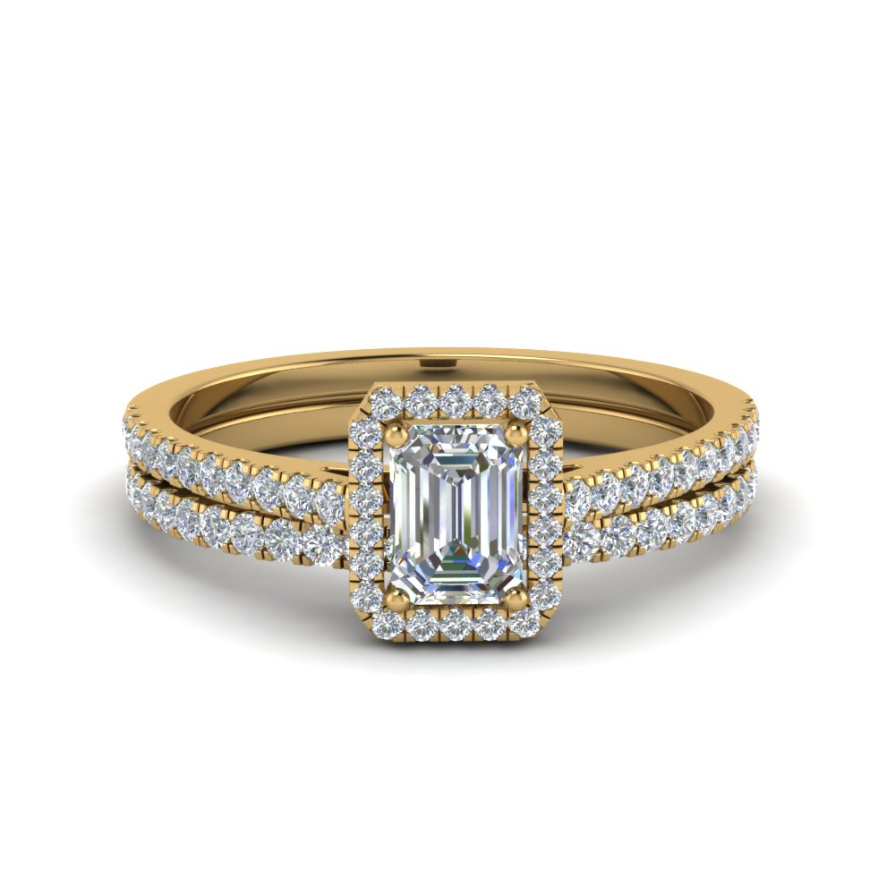 emerald cut french pave halo lab diamond bridal set in 14K yellow gold FD8183EM NL YG