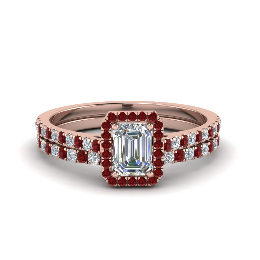 Accent Ruby Halo Wedding Set