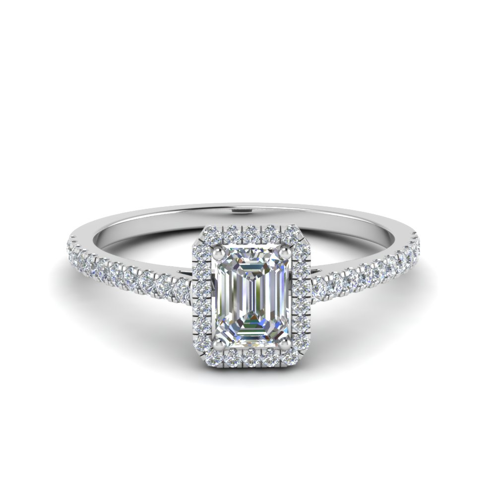 emerald cut french pave halo diamond engagement ring in 14K white gold FD8183EMR NL WG
