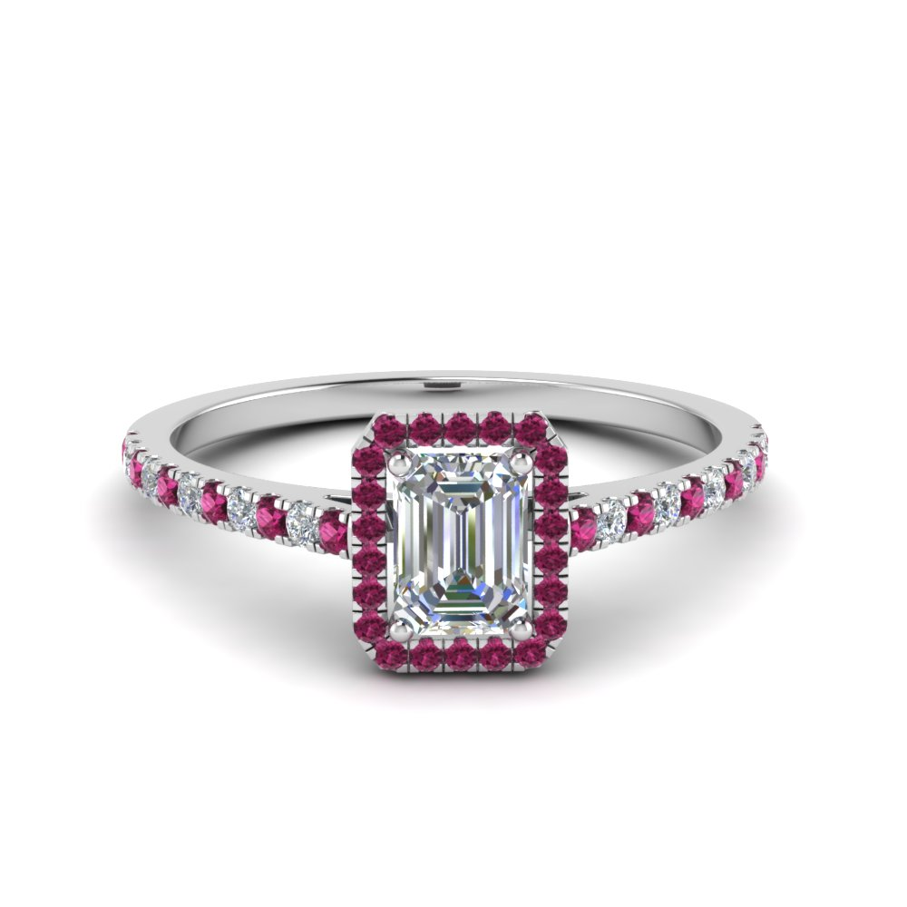 emerald cut pave halo ring with pink