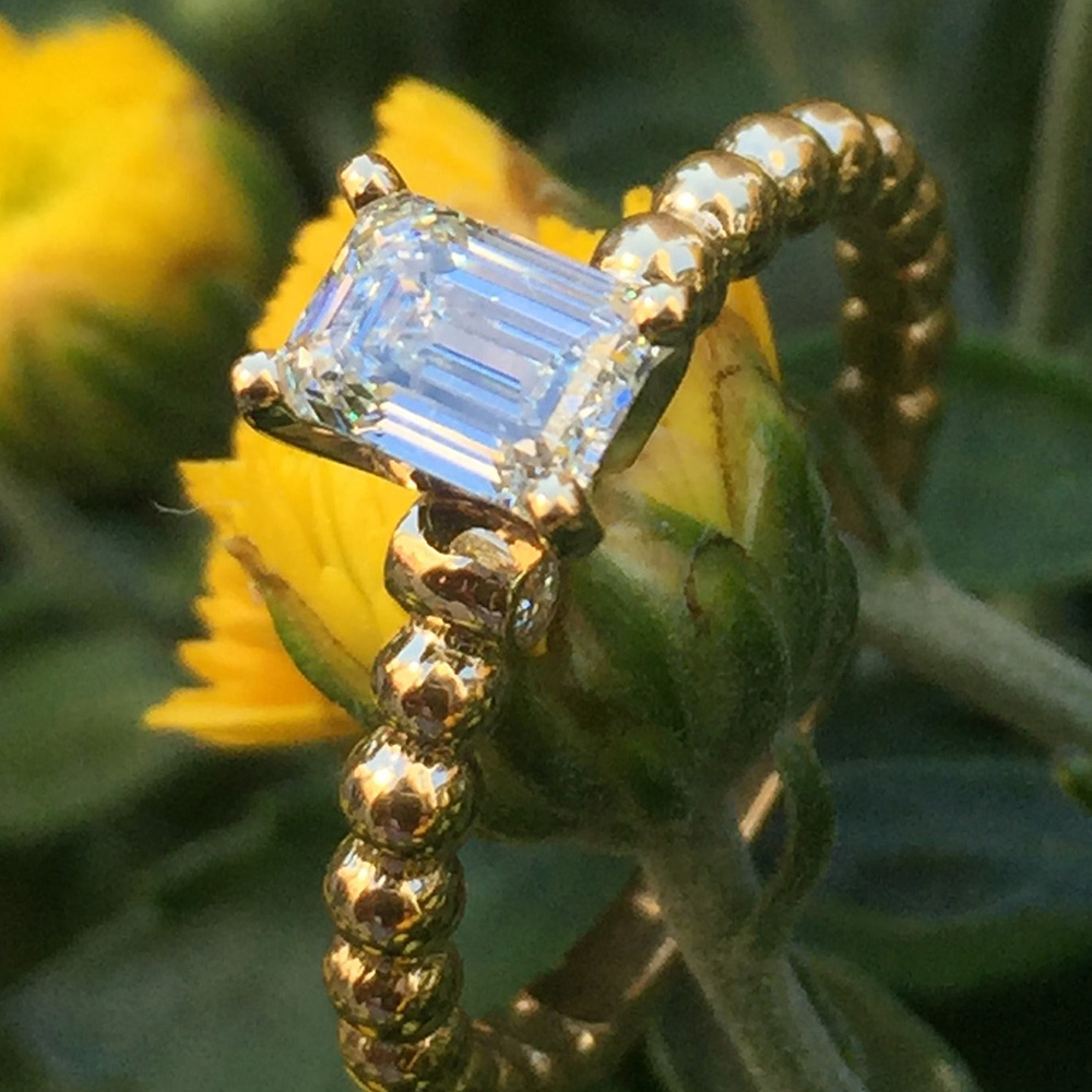 emerald cut gold bead solitaire diamond engagement ring in yellow gold FD ENS2205EMRANGLE1 NL YG
