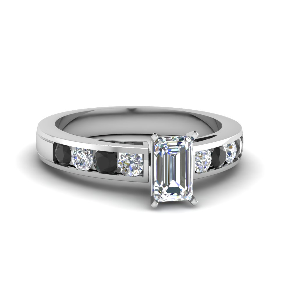 timeless channel emerald cut engagement ring with black diamond in FDENS252EMRGBLACK NL WG