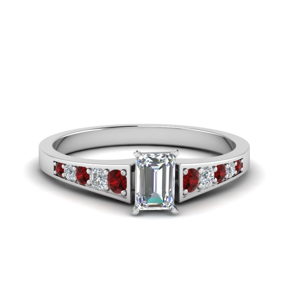 emerald cut graduated pave accent diamond engagement ring with ruby in FD8048EMRGRUDR NL WG