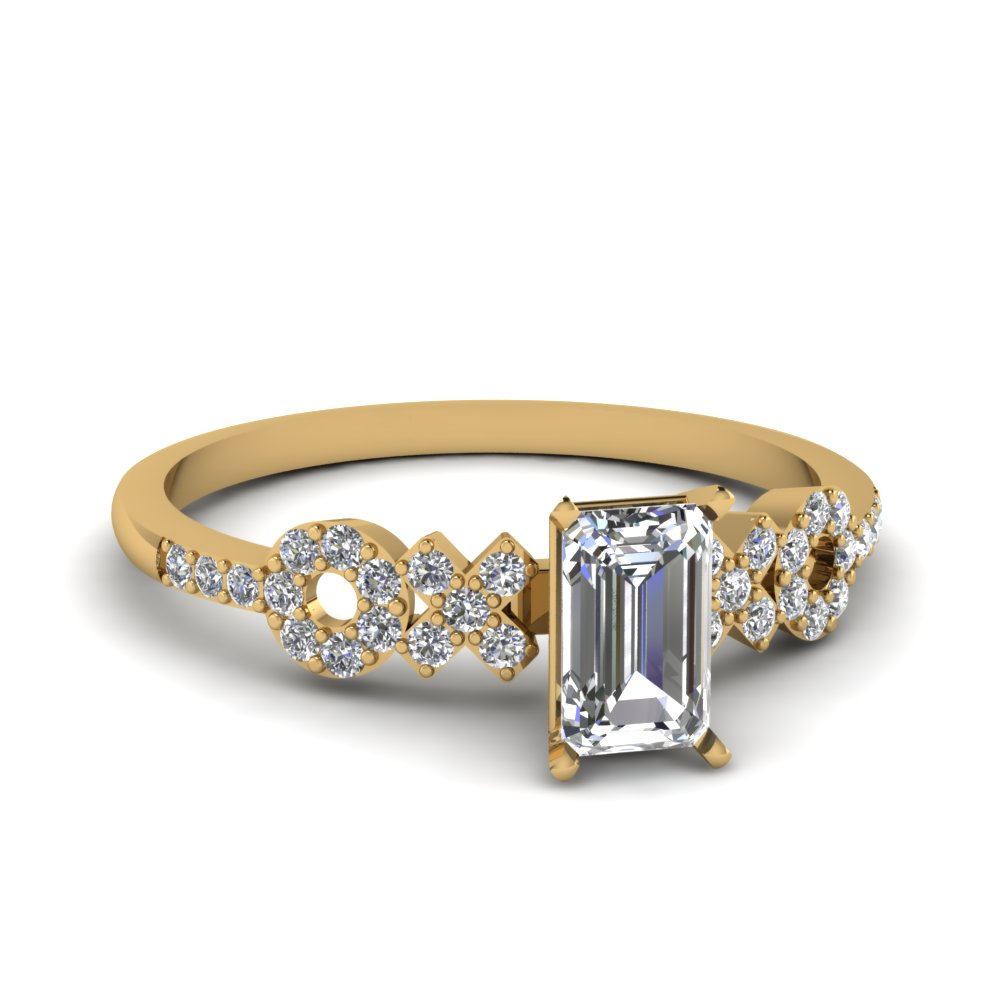 emerald cut half carat diamond engagement ring setting in 14K yellow gold FDENS3043EMR NL YG