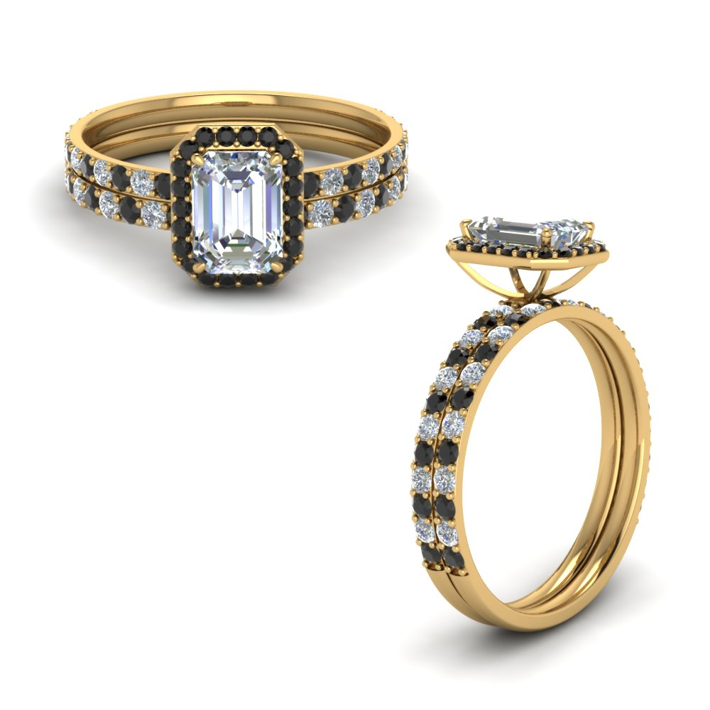 emerald cut delicate halo bridal set with black diamond in FD8499EMGBLACKANGLE1 NL YG