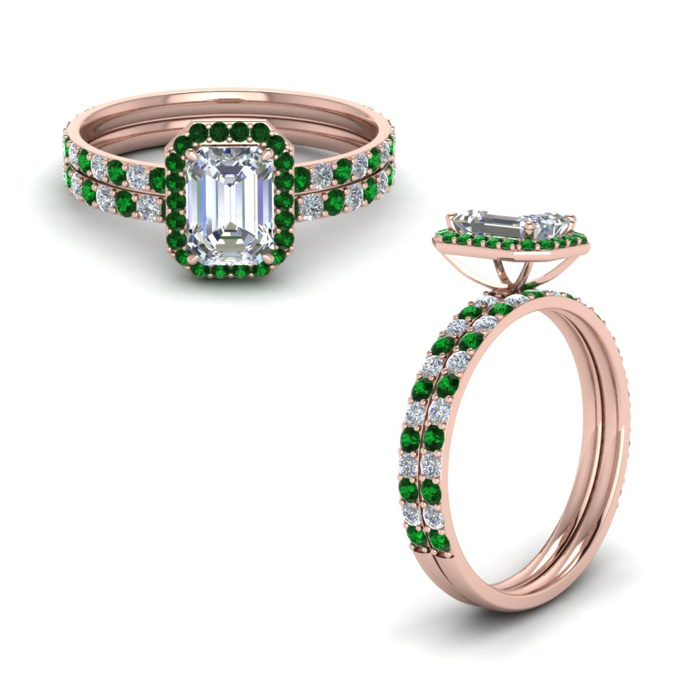 emerald cut delicate halo diamond bridal set with emerald in FD8499EMGEMGRANGLE1 NL RG